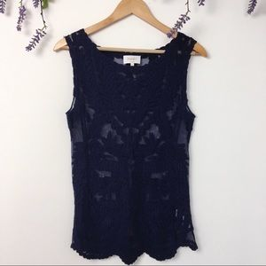 Laundry by Shelli Stegal blue lace sheer tank top